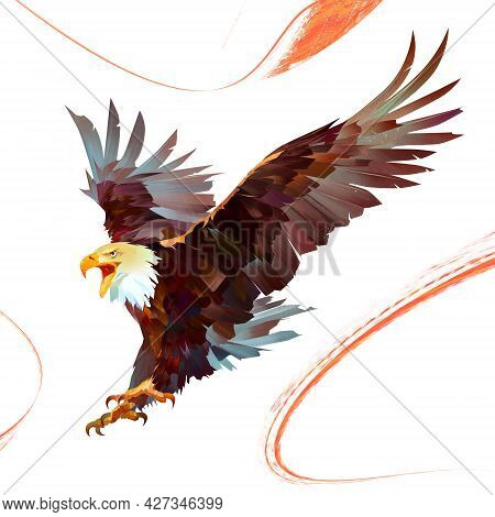 Painted Colored, Bright Eagle In Flight With An Open Beak
