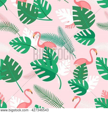 Seamless Pattern With Tropical Plants And Pink Flamingos. Summer Background With Green Palm Leaves.