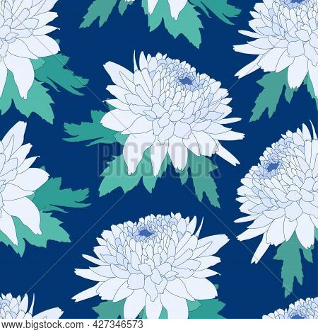 Seamless Decorative Pattern With Light Blue Chrysanthemum. Crown Daisy Repeated Background. Vector