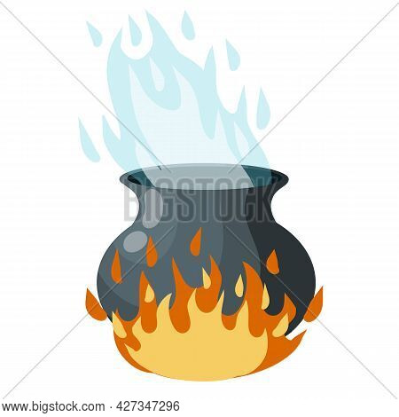 Cauldron On Fire. Boiling Potion. Black Pot, Steam And Smoke. Element Of Halloween. Witch And Sorcer