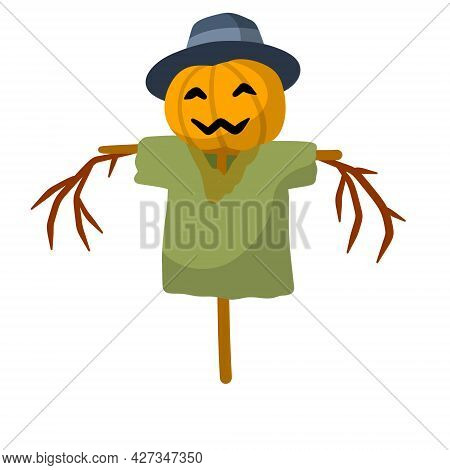Scarecrow With A Pumpkin Head. Funny Bogeyman With Hat. A Fabulous Halloween Character. Old Clothes