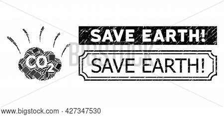 Collage Co2 Emission Cloud United From Rectangle Items, And Black Grunge Save Earth Exclamation. Rec