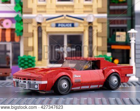 Tambov, Russian Federation - July 02, 2021 Lego 1968 Chevrolet Corvette Car By Lego Speed Champions