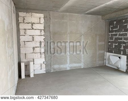 New Apartment, New Building Without Finishing And Repair, With Free Planning And Walls Made Of Concr