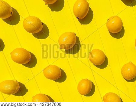 Ripe Limes, Lemons, Mint On White Wooden Boards, Top View, Copy Space. Summer Background