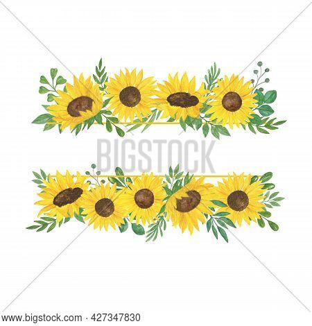 Sunflower And Leaves Frame, Floral Composition Watercolor Illustration, Field Agricultural Plant Sum