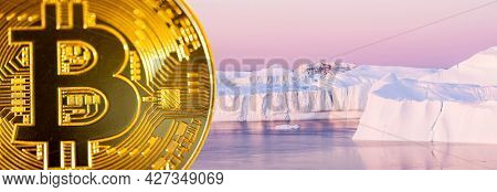 Bitcoin mining effect on climate change and environment. Cryptocurrency mining energy consumption, sustainability and impact on global warming concept image with bitcoin and melting polar icebergs.