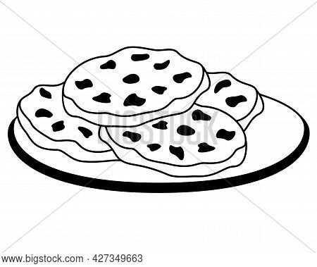 Cookies On A Plate. Chocolate Chip Cookies On A Plate - Vector Picture For A Logo Or Pictogram. Choc