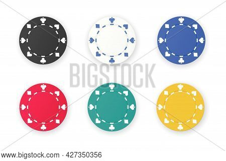 Set Of Gambling Game Like Poker Dice Or Roulette Chips