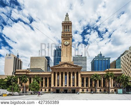 BRISBANE, QUEENSLAND, AUSTRALIA - OCTOBER 24, 2013: City Hall is located next to King George Square in Brisbane. It was opened first in 1930. It serves as office of Brisbane City Council.