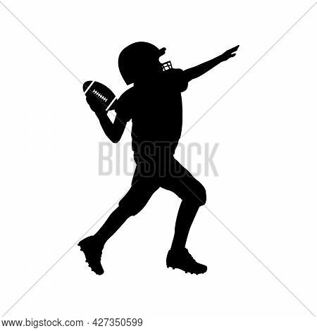 Silhouette Of American Football Boy Player Throwing Ball. Symbol Sport. Illustration Icon Logo