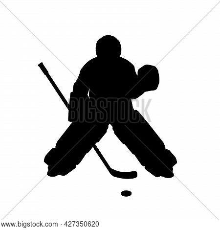 Silhouette Boy Ice Hockey Player Goaltender. Symbol Sport. Illustration Icon Logo