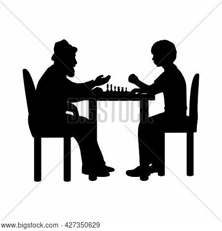 Silhouettes Boy And Grandfather Playing Chess. Illustration Icon Logo