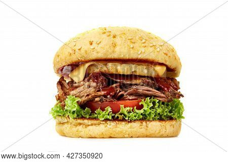 Big Hamburger Isolated On White Background. Low Angle View