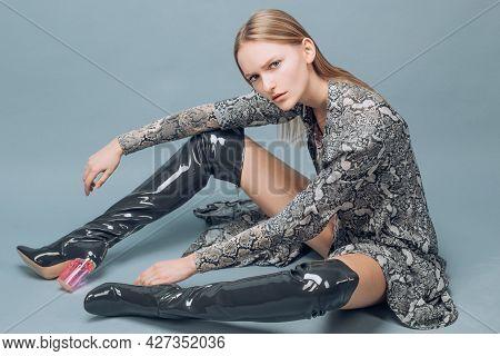 Stylish Woman In Fashion Trend Dress. Beautiful Fashionable Girl.