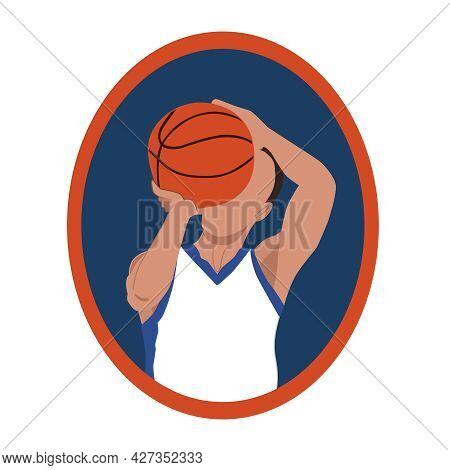 A Basketball Player Makes A Free Throw Of The Ball. The Symbol, Icon, Logo Of The Sports Game Basket