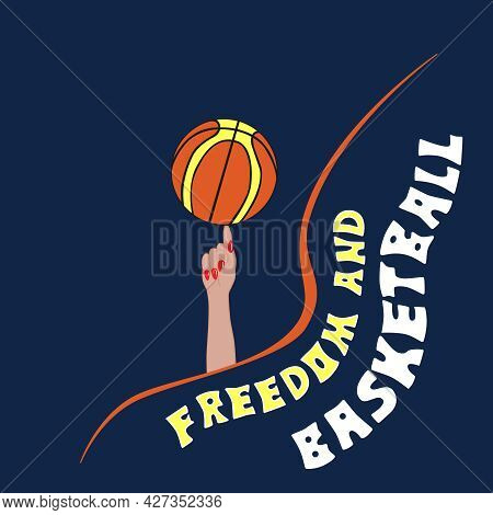 The Team Sport Is Basketball. Rotate The Basketball On Your Index Finger. Vector Illustration With T