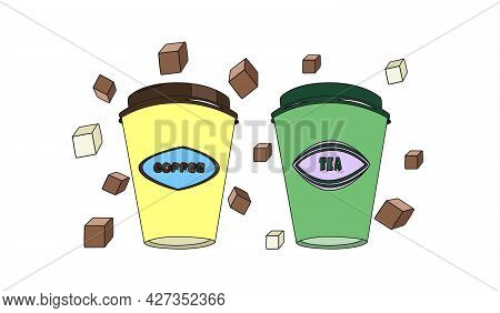 Coffee And Tea In Paper Cups. An Illustration Template For The Design Of The Menu Of Cafes And Bars.