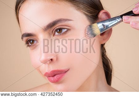Beauty Woman Closeup Face With Natural Make Up, Fresh Beauty Model Young Spa. Beauty Treatment Conce
