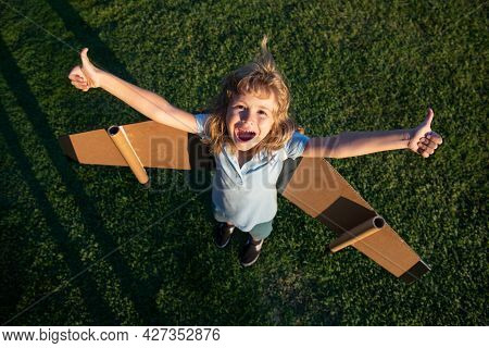 Excited Funny Child Boy Flying In Plane Made Craft Of Cardboard Wings. Dream, Imagination, Childhood