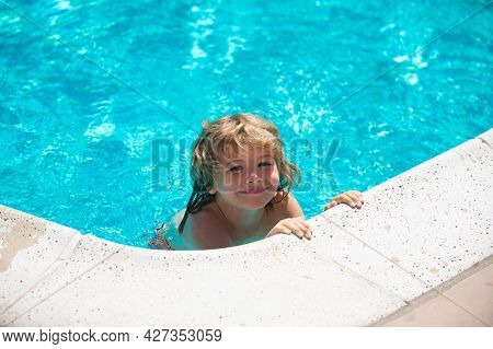 Active Kids Healthy Lifestyle, Water Sport Activity And Swimming Lessons On Summer Vacation With Chi