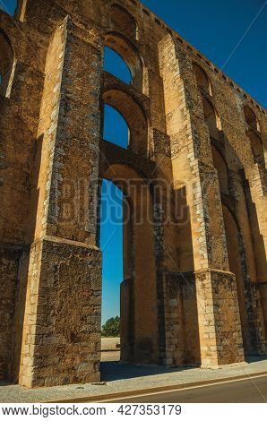Architectural Structure Of The Amoreira Aqueduct With Arches And Rectangular Pillars At Elvas. A Gra