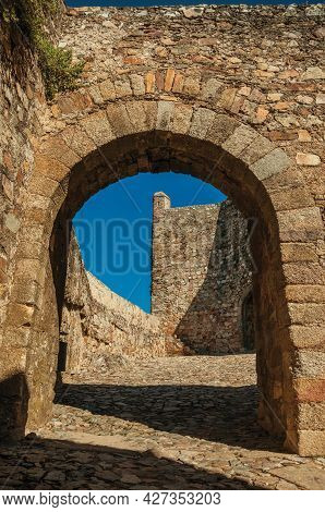 Stone Gateway In The Internal Wall Over Sidewalk At The Marvao Castle. An Amazing Medieval Fortified