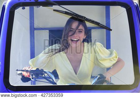 Funny Woman Draver In Electro Car. Saving Ecology. Electric Cars.