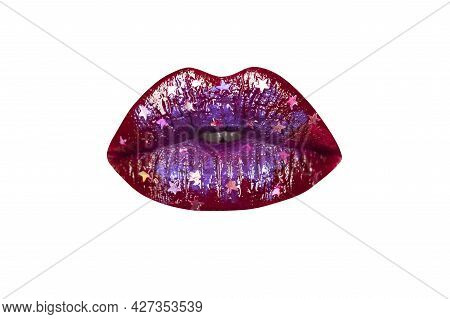 Female Mouth With Sexy Pink Lips Isolated Closeup. Close Up Woman Sensual Lips With Red Lipstick. Pa