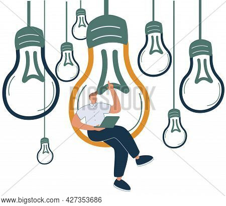Content Creation, Creative Person Vector Concept. Man Sitting In Lighbulb With Laptop. Symbol Of Cre
