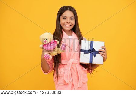Happy Teen Girl In Home Terry Bathrobe With Toy And Present Box, Sale