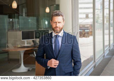 Mature Unshaven Man Entrepreneur In Businesslike Suit Outside The Office, Agile Business