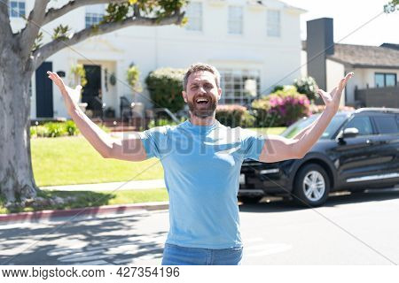 Mature Guy Express Happiness. Buy New House And Car. Positive Feelings And Emotions.