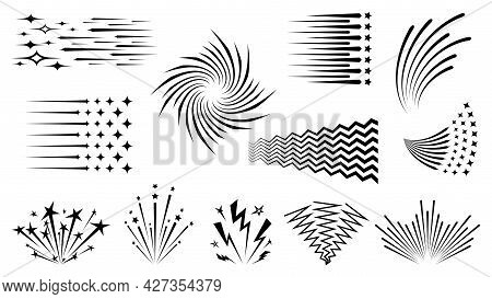 Speed Line.  Background Of Radial Lines. Set Of Various Symbols Of Movement, Speed, Explosion, Radia