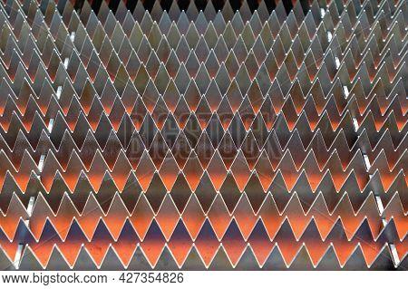 Spikes Surface At Cnc Machine Metal Workshop