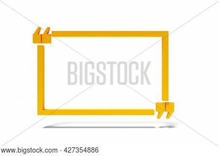 Empty, Blank, Orange Frame Speech Bubble With Quotation Mark Standing On White Background, Quote, Sp