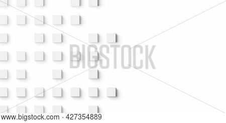 Random Shifted Small White Cubes, Blocks Or Boxes Background Wallpaper Banner With Copy Space, 3d Il