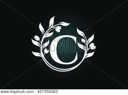 Initial Letter C Sign Symbol With Olive Branch Wreath. Round Floral Frame Made By The Olive Branch.