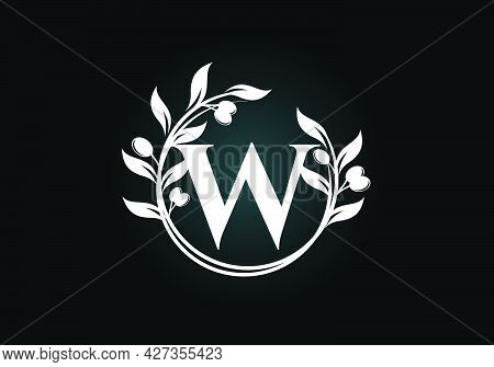 Initial Letter W Sign Symbol With Olive Branch Wreath. Round Floral Frame Made By The Olive Branch.