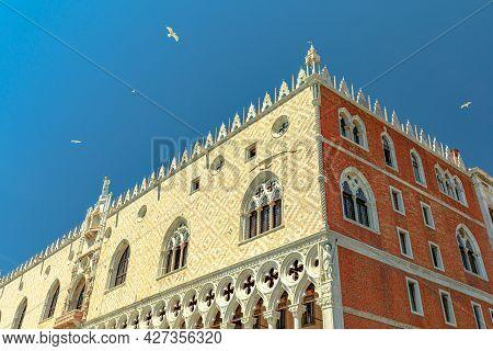 Close Up Doges Palace In Saint Mark Italian Square Of Venice City Of Italy In Veneto Region. Italian