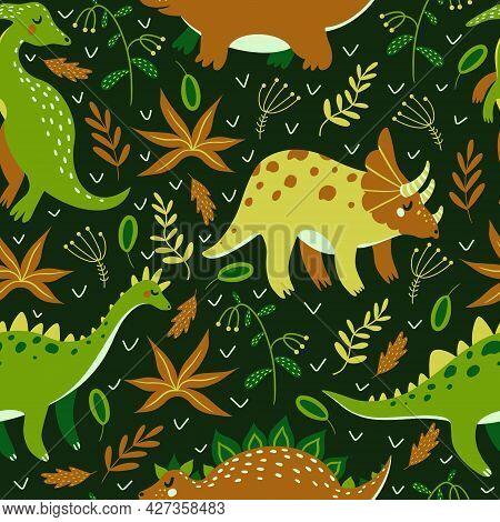 Cute Cartoon Dinosaurs Seamless Vector Pattern. Jurassic Reptiles On A Dark Background. Hand-drawn C