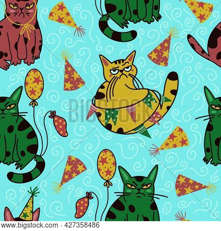 Grumpy Cartoon Cats Seamless Vector Pattern. Cute Animals In Party Caps With Balloons. The Pets Are