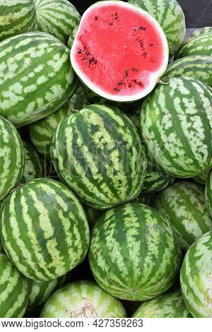 Ripe Watermelons Of The New Harvest