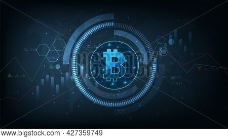 Financial Growth And Investing Concept.modern Digital Money Sign Illustration. Cryptocurrency Tradin