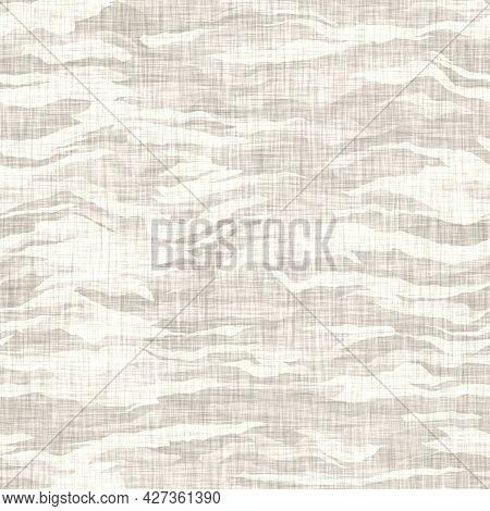 Linen Texture Background With Wavy Broken Stripe. Organic Irregular Striped Seamless Pattern. Modern