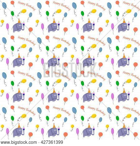 Elephant And Balloons Pattern. Illustration For Children Happy Birthday. Vector Drawing. For Wrappin