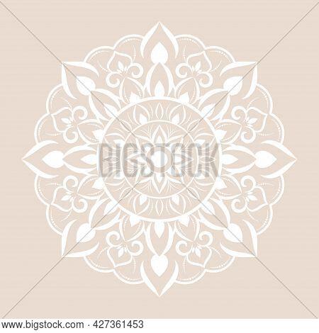 Mandala Pattern Design With Hand Drawn, Vector Mandala Oriental Pattern, Unique Design With Petal Fl