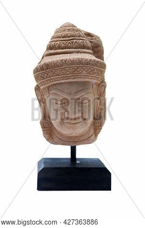 Miniature Sculpture Imitating Khmer Art On A Wooden Base For Home Decoration On White Background.