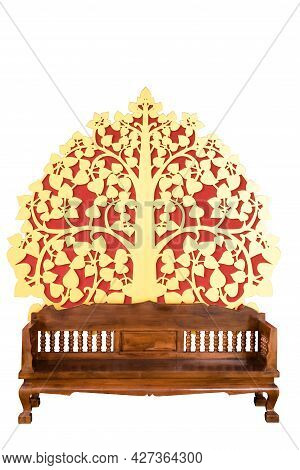 Furniture, Wooden Chairs, Thai Style, Isolated On White Background.used In The Expensive Thai Royal
