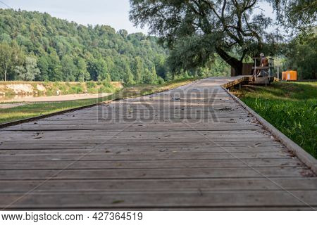 Wooden Footpath To A Public Beach In The Town